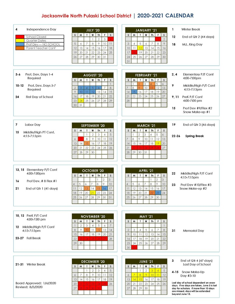 2020-21 School Calendar (revised)